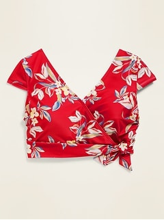 Floral Wrap-Front Cap-Sleeve Plus-Size Swim Top