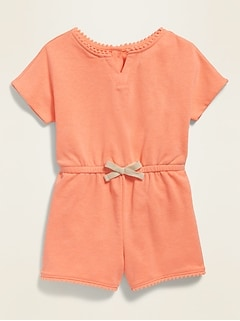 French-Terry Pom-Pom-Trim Romper for Toddler Girls