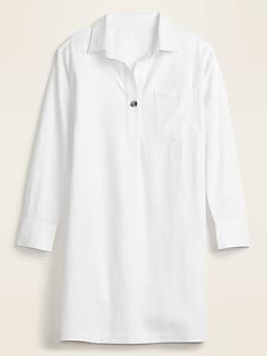Linen-Blend Popover Shirt Dress for Women