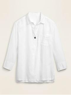 Linen-Blend Popover Tunic Shirt for Women