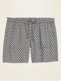 High-Waisted Printed Soft-Woven Plus-Size Shorts -- 7-inch inseam