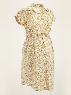 Maternity Ditsy Floral Tie-Belt Linen-Blend Shirt Dress