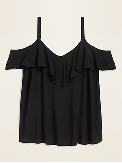 Soft-Woven Ruffled Cold-Shoulder Plus-Size Top