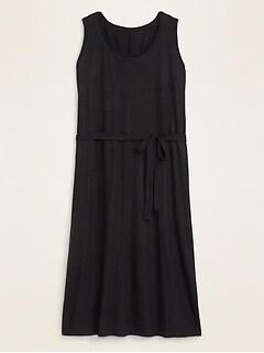Sleeveless Linen-Blend Jersey Tie-Belt Plus-Size Dress