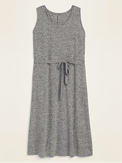 Sleeveless Linen-Blend Jersey Tie-Belt Plus-Size Dress