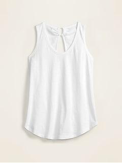 Slub-Knit Tie-Back Tank Top for Women