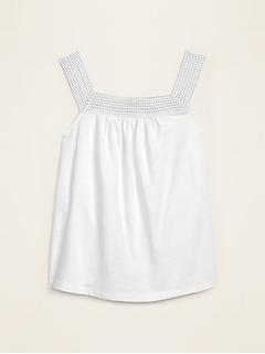 Crochet-Yoke Slub-Knit Tank Top for Women