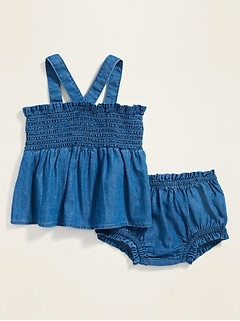 Smocked Chambray Top & Bloomers Set for Baby
