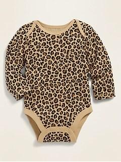 Cache-couche à manches longues en tricot côtelé à imprimé pour bébé