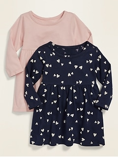 2-Pack Long-Sleeve Jersey Dress for Baby
