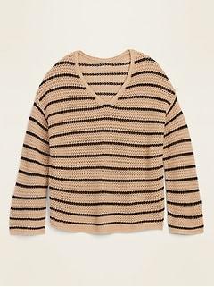 Slouchy Crochet V-Neck Sweater for Women