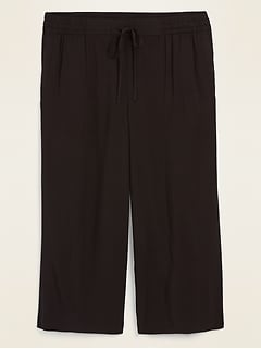 Mid-Rise Soft-Woven Pull-On Plus-Size Culotte Pants