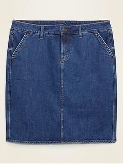 Jupe en denim à taille haute et poches Secret amincissant, taille Plus