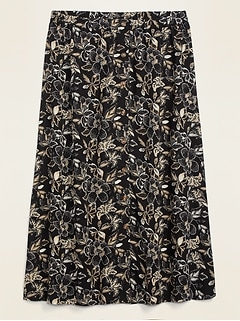 Printed Button-Front Plus-Size Maxi Skirt