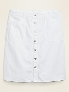 High-Waisted Button-Front Plus-Size White Jean Skirt