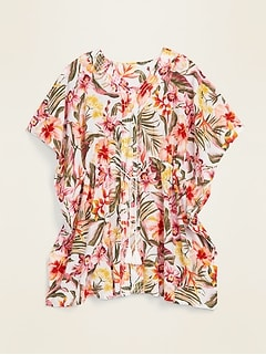 Floral-Print Gauze Kaftan Plus-Size Swim Cover-Up