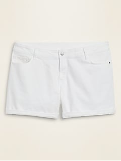High-Waisted Secret-Slim Pockets Plus-Size White Jean Shorts -- 5-inch inseam