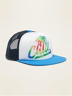 Graphic Flat-Brim Trucker Hat for Boys