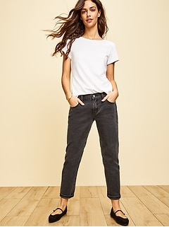 Mid-Rise Boyfriend Straight Black Jeans for Women