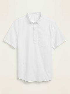 Relaxed-Fit Built-In Flex Popover Oxford Short-Sleeve Shirt for Men