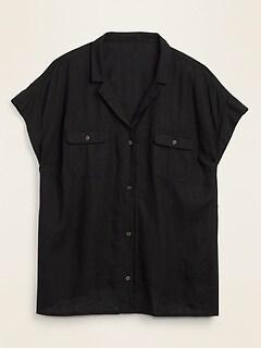 Linen-Blend Utility No-Peek Plus-Size Camp Shirt