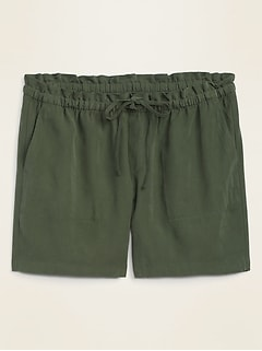 High-Waisted Soft-Woven Plus-Size Shorts -- 7-inch inseam