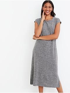 Linen-Blend Jersey Midi T-Shirt Shift Dress for Women