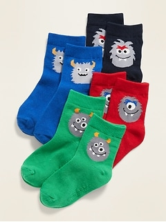 4-Pack Monster Critter Socks for Toddler & Baby