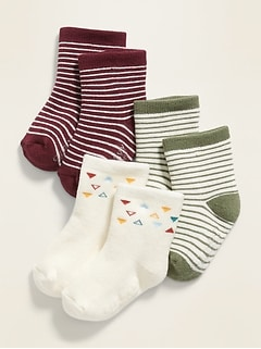 Unisex 3-Pack Printed Socks for Baby