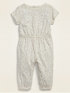 Printed Short-Sleeve Jersey Jumpsuit for Baby