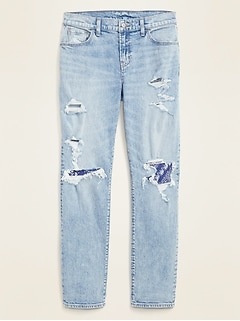 Mid-Rise Distressed Boyfriend Jeans for Women