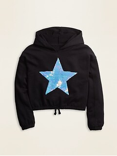 Cinched-Hem French Terry Pullover Hoodie for Girls