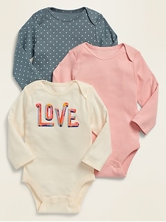 Unisex 3-Pack Long-Sleeve Jersey Bodysuits for Baby