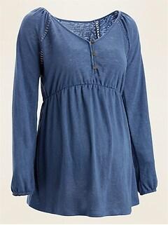 Maternity Waist-Defined Jersey-Knit Henley Top