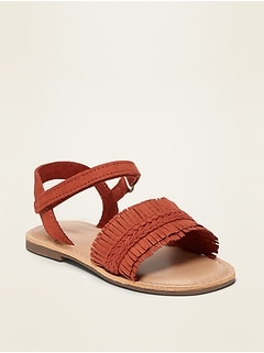 Faux-Suede Fringed Sandals for Toddler Girls