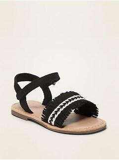 Sandales en faux suède à franges pour toute-petite fille