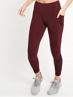 High-Waisted Elevate Side-Pocket Mesh-Trim 7/8-Length Compression Leggings for Women