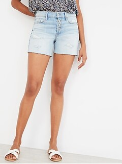 Mid-Rise Distressed Button-Fly Cut-Off Jean Shorts for Women -- 5-inch inseam