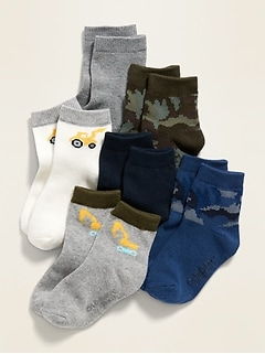 6-Pack Printed Crew Socks for Toddler Boys & Baby