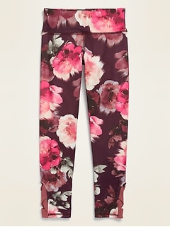 Mid-Rise Go-Dry Elevate 7/8-Length Mesh-Trim Floral Leggings for Girls