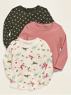 3-Pack Long-Sleeve Scoop-Neck Tee for Toddler Girls
