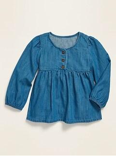 Long-Sleeve Empire-Waist Twill Top for Toddler Girls