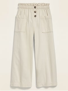 Pantalon à jambe large à taille accordéon pour fille
