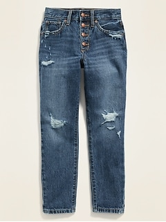 POPSUGAR x Old Navy High-Waisted Distressed O.G. Straight Button-Fly Jeans