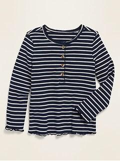 Striped Rib-Knit Lettuce-Edged Henley for Toddler Girls