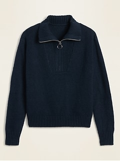 Mock-Neck 1/4-Zip Sweater for Women