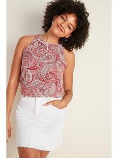 Printed High-Neck Sleeveless Blouse for Women