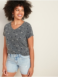 EveryWear Printed V-Neck Tee for Women