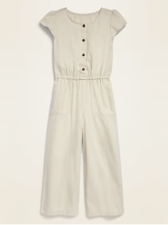 Soft Twill Button-Front Flutter-Sleeve Jumpsuit for Girls