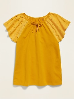 Eyelet Flutter-Sleeve Jersey-Knit Top for Girls